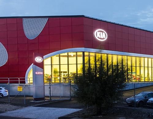 Fasad och skylt hos Kia Motors